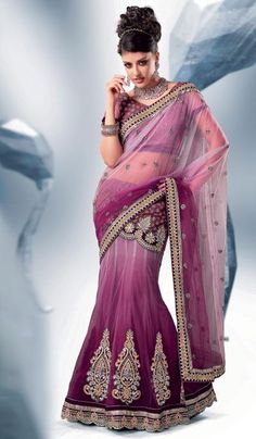 G3 Fashions Shaded Purple Net Embroidered Designer Lehenga Saree  Product Code : G3-LS7067 Price : INR RS 6008