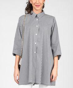 White & Black Checkerboard Button-Up Top #zulily #zulilyfinds