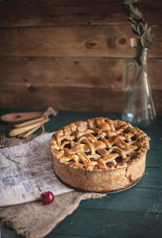 What could be better than an Lattice-Topped Cherry Pie? Perhaps a Deep Dish Lattice-Topped Cherry Pie! I love a warm slice of home made Cherry Pie, don't you? Tart Recipes, Dessert Recipes, Little Corner, So Little Time, Just Desserts, Sweet Tooth, Bakery, Sweet Treats, Yummy Food