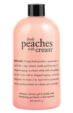 philosophy 'fresh peaches with cream' shampoo, shower gel & bubble bath available at #Nordstrom - would be perfect a travel size of this