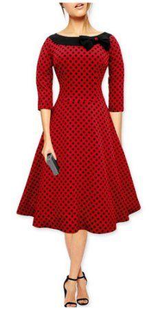 Janeyer Women's 1950s Rockabillty 3/4 Sleeve Vintage Polka Dots Dress: Amazon.ca: Sports & Outdoors