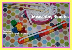 """For Chinese New Year, cut yarn """"noodles"""" and have students measure them! Easy and fun math station!"""
