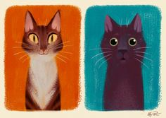 I painted my cats to try out Kyle T. Webster's gouache brush set. They are…