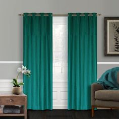 Vision Faux Silk Pleated Grommet Window Curtains (2 pieces)in Turquoise