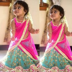 Baby in Printed Net Half Saree - Indian Dresses Cute Baby Dresses, Dresses Kids Girl, Girl Outfits, 15 Dresses, Kids Saree, Kids Lehenga Choli, Kids Lehanga Design, Kids Frocks Design, Kids Indian Wear
