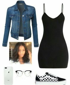 Apr 2020 - A fashion look from February 2018 featuring v-neck dresses, blue jean jacket and vans sneakers. Browse and shop related looks. Boujee Outfits, Baddie Outfits Casual, Swag Outfits For Girls, Teenage Girl Outfits, Cute Swag Outfits, Cute Comfy Outfits, Teen Fashion Outfits, Dope Outfits, Girly Outfits