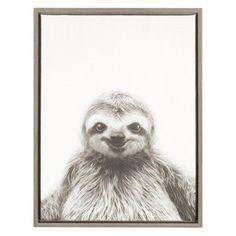 DesignOvation Sylvie Sloth Black and White Portrait Canvas Wall Art by Simon Te Tai - 211402