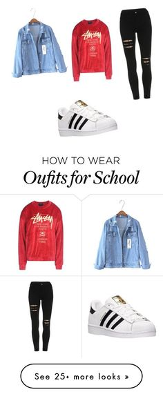 """""""first day of school."""" by yungvisionaryy-1 on Polyvore featuring adidas, Stussy, women's clothing, women, female, woman, misses and juniors"""