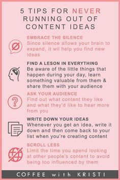Social media infographic and charts 6 Tips To Never Run Out Of Content Infographic Description 5 tips for never running out of content ideas infographics by Coffe with Kristi Marketing Logo, Plan Marketing, Content Marketing Strategy, Social Media Marketing, Internet Marketing, Online Marketing, Business Marketing, Business Education, Marketing Software