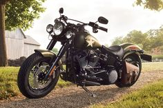 The 2016 incarnation of the Softail Slim S shares a lot of technical upgrades with the Fat Boy S we showed to you yesterday, but it's the killer retro martial optional livery that steals the show.