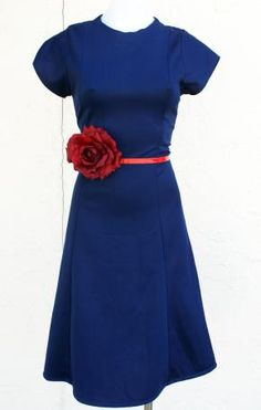 The GREASER GIRL Vtg 60s Pinup Rockabilly Blue Midi Day Frock Dress XS S