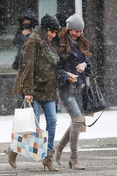 Meghan Markle wearing Celine Trio Bag in Olive, Sarah Flint Sophia Taupe Boots, Smythe Flak Jacket and Hat Attack Cashmere Slouchy Beanie in Black