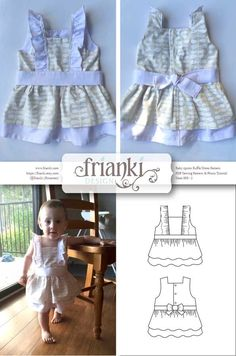 Baby Girl Ruffled Apron Dress - PDF Sewing Pattern and Photo Tutorial - Sizes 000 to 2 - Instant Download - Toddler Child Easy Sew Pattern by Frianki on Etsy https://www.etsy.com/au/listing/231071906/baby-girl-ruffled-apron-dress-pdf-sewing