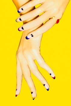 """This Nail Art Will Make You Like Nail Art Again #refinery29  http://www.refinery29.com/best-nail-art-inspiration-madeline-poole#slide-9  Multicolor MoonsIf you're going to create a look that focuses on the moons, it goes without saying that your cuticles need to be in tip-top shape. (Poole's go-to is Sally Hansen Instant Cuticle Remover. """"It does wonders in minutes,"""" she says. We like Deborah Lippmann's formula.) <br..."""