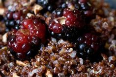 Warm and Nutty Cinnamon Quinoa  	Recipe  - A stunning berry-studded breakfast quinoa with pecans and blackberries, sweetened with agave nectar or honey. - from 101Cookbooks.com