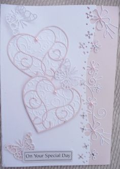 Dies used are memory box nottingham border, isabella and pippi butterflies and silverdale heart. White cardstock and pale pink pearlescent . Wedding Anniversary Cards, Aniversary Cards, Wedding Cards Handmade, Handmade Cards, Wedding Shower Cards, Memory Box Cards, Pink And White Weddings, Romantic Cards, Spellbinders Cards