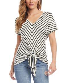 Amazing offer on Karen Kane Chevron Tie Front Top online - Looknewclothing Karen Kane, Front Tie Top, Top Pattern, Clothes For Women, Tee Online, Stripes, Tops, Chevron, Nordstrom