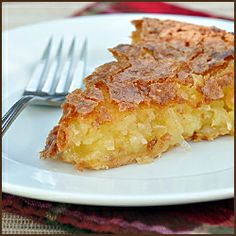 """French Coconut Pie - 3 eggs beaten, 1 1/2 c sugar, 1 c flaked coconut, 1 stick butter melted, 1 T white vinegar, 1 t vanilla, pinch of salt, 9"""" uncooked pie shell. Mix filling ingredients well and pour into pie shell. Bake at 350 degrees for 1 hour. Let cool and set before slicing."""