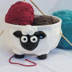 Black and white ceramic sheep yarn bowl by EarthandStonebyKimmi
