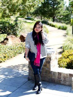 #PlusSizePretty  Curvy Girl Chic Plus Size Fashion Blog - OOTD striped moto jacket
