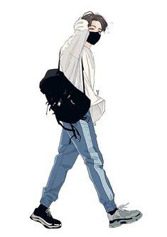 save = fl me Jungkook Fanart, Kpop Fanart, Cool Anime Guys, Cute Anime Boy, Boy Illustration, Character Illustration, Cartoon Kunst, Cartoon Art, Anime Boy Zeichnung