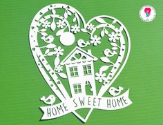 Home sweet home paper cut svg / dxf / eps / files and pdf / Diy Projects Living Room, Paper Cutting Templates, Paper Art, Paper Crafts, Paper Cut Design, Leaf Template, Fall Diy, Silhouette Projects, Word Art