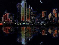 Dallas skyline at night, TX