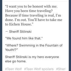 Haha Sheriff Stilinski realizing baby Derek was Derek was PRICELESS