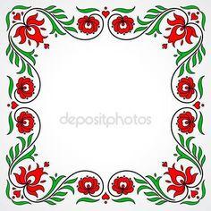 Empty frame with traditional Hungarian floral motives — Stock Illusztráció Chain Stitch Embroidery, Learn Embroidery, Embroidery Stitches, Embroidery Designs, Floral Embroidery, Hand Embroidery, Stitch Head, Hungarian Embroidery, Straight Stitch