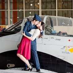A vintage styled airplane engagement session
