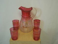Lot of Cranberry Glass Handpainted Mary Gregory Style Pitcher and 4 tumbler cups