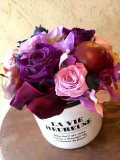 【古稀祝いにシックな紫バラとアジサイのプリザーブドフラワー】