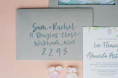 Amanda & Lee — Better Together Paper Co.  Letterpress, Wedding Invitation, Wedding Stationery, Watercolour, envelope calligraphy, hand lettering, calligraphy, grey envelope