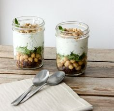 Minty Yogurt Parfaits with Chickpeas and Raisins // From the Land we Love on