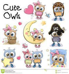 Set of Cute Cartoon Owls stock vector. Illustration of animals - 100803378