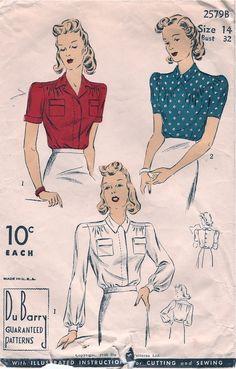 RARE DuBarry Blouse Pattern Size 20 by sleuthpatterns 1900s Fashion, Retro Fashion, Vintage Fashion, Blouse Vintage, Vintage Dresses, Vintage Outfits, Vintage Sewing Patterns, Clothing Patterns, Clothing Styles