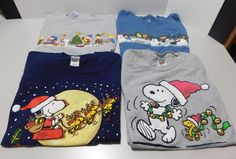 Peanuts Snoopy Charlie Brown Lot 4 Christmas Holiday T-shirts Large Short Sleeve #Peanuts #GraphicTee