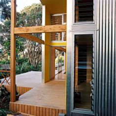 """This """"bach"""" (a simple, inexpensive vacation house) for a New Zealand family has 4 bedrooms in 1,507 sq ft. Designed by architects Bonnifait ..."""