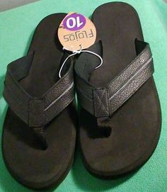 Mens Flojos Flip Flops sz 10 Shoes New w/ Tags Black Leather Sandals Padded Sole New listing!