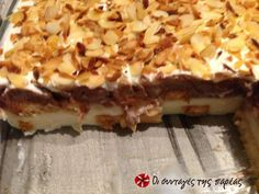 Γλυκό ψυγείου με φρυγανιές της Λίτσας #sintagespareas Greek Sweets, Greek Desserts, Summer Desserts, Greek Recipes, Desert Recipes, No Bake Desserts, Sweets Cake, Cupcake Cakes, Chocolate Chip Cookies