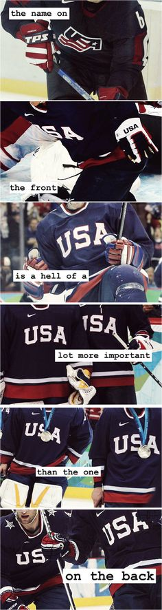 Hockey, America, and a quote from Miracle. At a time when things were at their worst, a rag tag group of hockey players went against ridiculous odds to give a nation hope. Boston Bruins Hockey, Usa Hockey, Hockey Mom, Hockey Teams, Chicago Blackhawks, Hockey Players, Hockey Stuff, Hockey Quotes, Sport Quotes