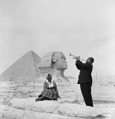 Louis Armstrong Playing for His Wife Lucille in Egypt, 1961. ThingLink Interactive Image.