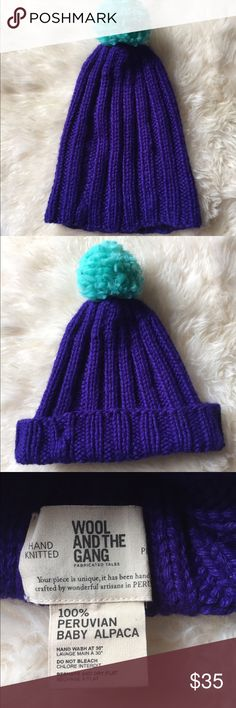 Madewell HandKnit, Peruvian Alpaca Pompom Beanie Like New, No Flaws, Piling, or Otherwise. Super Soft, Great Blue Color. Can be Worn as Shown in Pic 1 & 2. Madewell Accessories Hats