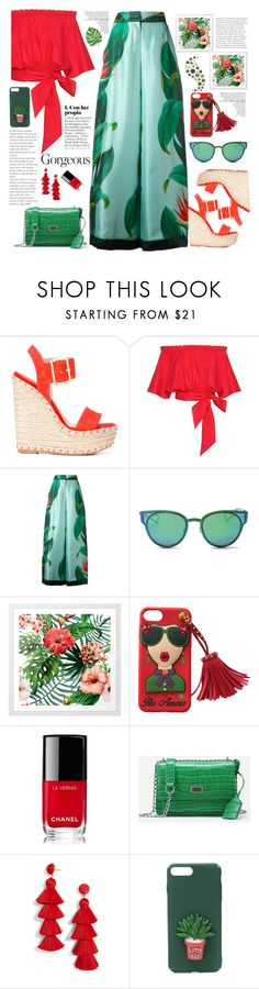 """Gorgeous tropical chic"" by licethfashion ❤ liked on Polyvore featuring Elie Saab, Saloni, F.R.S For Restless Sleepers, LMNT, Chanel and BaubleBar"