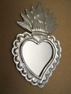 Tin Sacred Heart Mirror with Flames and Scalloped Edges - Mexico
