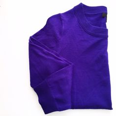 J. Crew Royal Purple Tippi Sweater Excellent condition with no rips or stains. Retail.  First picture filtered. Crew neck. 3/4 sleeves. J. Crew Sweaters Crew & Scoop Necks