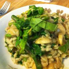 asparagus mushroom spinach risotto