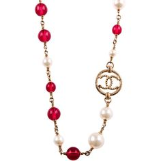 Pre-Owned Chanel Faux Pearl, Red Bead And CC-Logo Sautoir Necklace ($2,150) ❤ liked on Polyvore featuring jewelry, necklaces, gold, red flower necklace, multi colored bead necklace, dangle charms, faux pearl necklace and red bead necklace