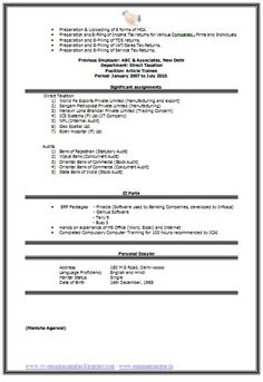 Example Template of an Experienced Chartered Accountant Resume with ...