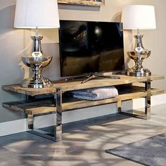 Contemporary Recycled Wood TV Unit at Juliettes Interiors. Reclaimed Wood Coffee Table, Rustic Coffee Tables, Wood Tv Unit, Rustic Tv Unit, Tv Unit Design, Fabric Dining Chairs, Recycled Wood, Modern Industrial, Home Collections